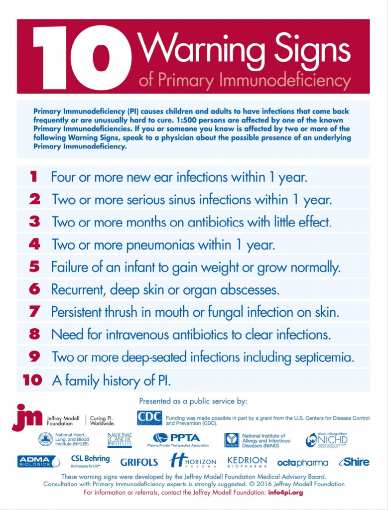 10 Warning Signs of Primary Immunodeficiency
