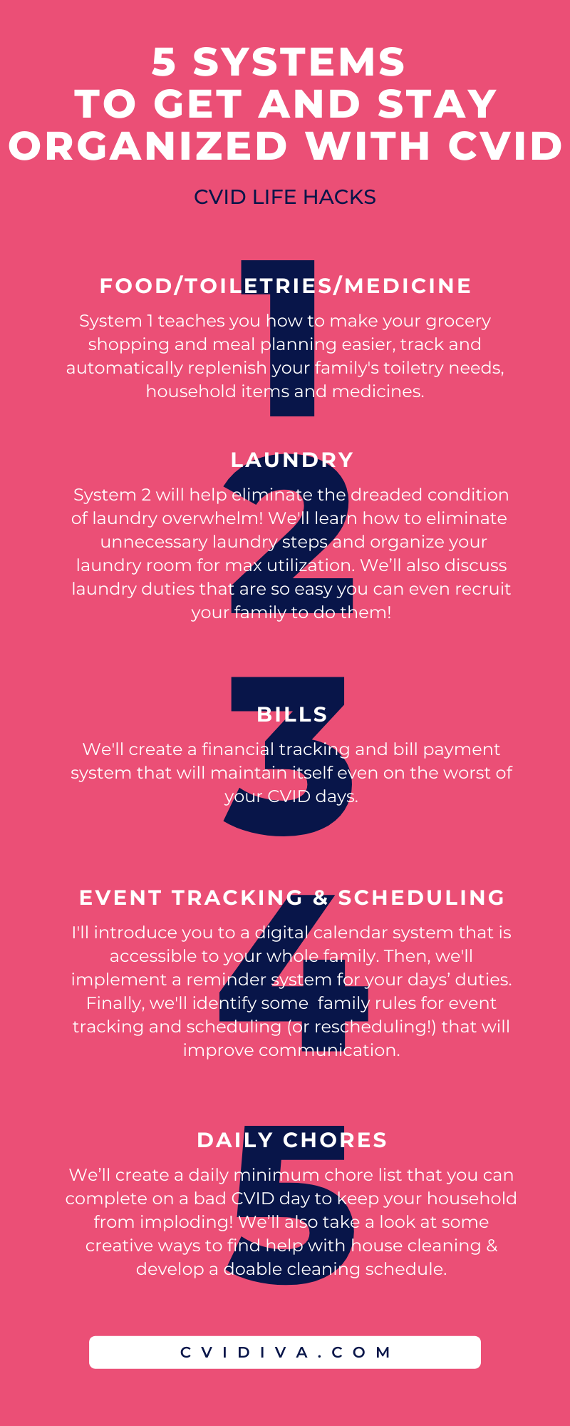 5 Systems to Get and Stay Organized with CVID Infographic