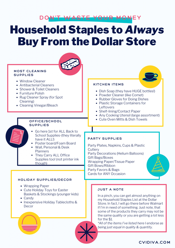 cvid life hacks household staples to always buy from the dollar store inforgraphic